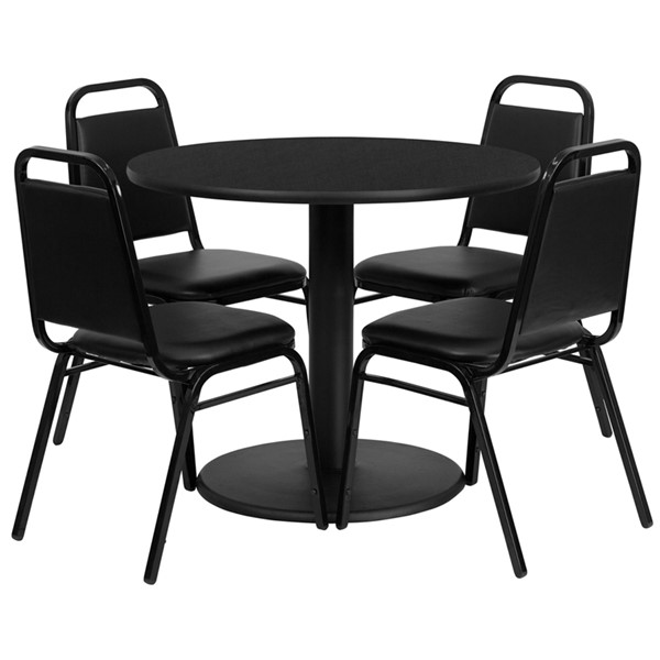 Fabric MDF Metal Wood Round Dining Room Set FLF-RSRB10-GG-DR