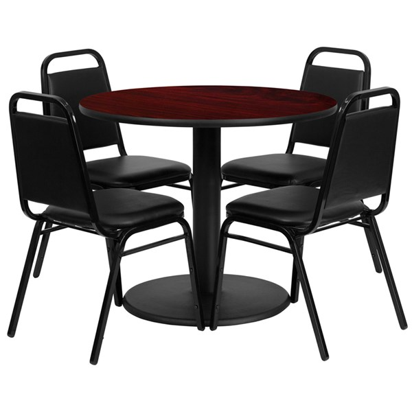 5pc Round Dining Room Set w/36 Inch Mahogany Laminate Table & Chairs FLF-RSRB1002-TR24-DR-S2