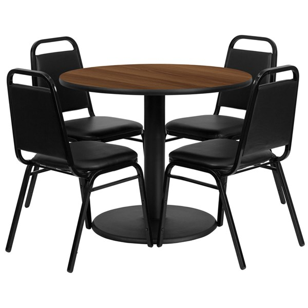 5pc Dining Room Set w/36 Inch Walnut Laminate Table & Banquet Chairs FLF-RSRB1004-TR24-DR-S4