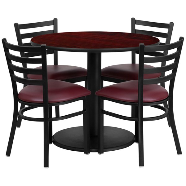 5pc Dining Room Set w/36 Inch Mahogany Laminate Table-Burgundy Seat FLF-RSRB1006-TR24-DR-S6