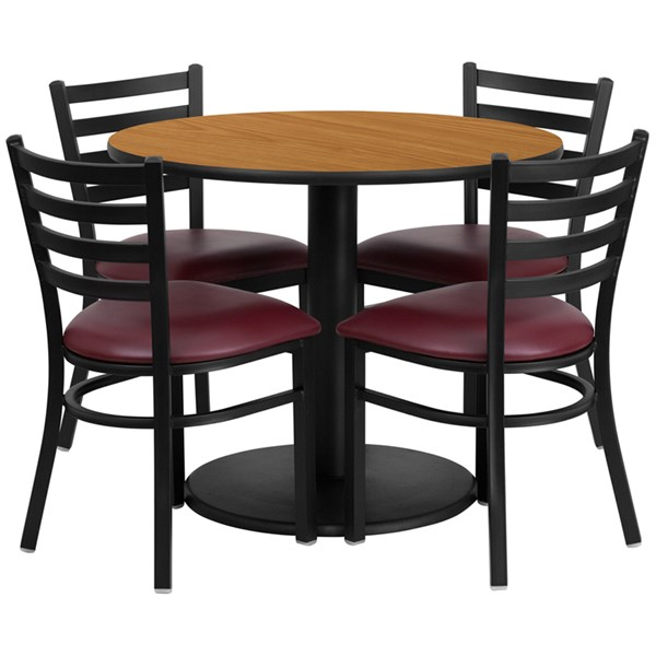 5pc Dining Room Set w/36 Inch Natural Laminate Table & Burgundy Seat FLF-RSRB1007-TR24-DR-S7