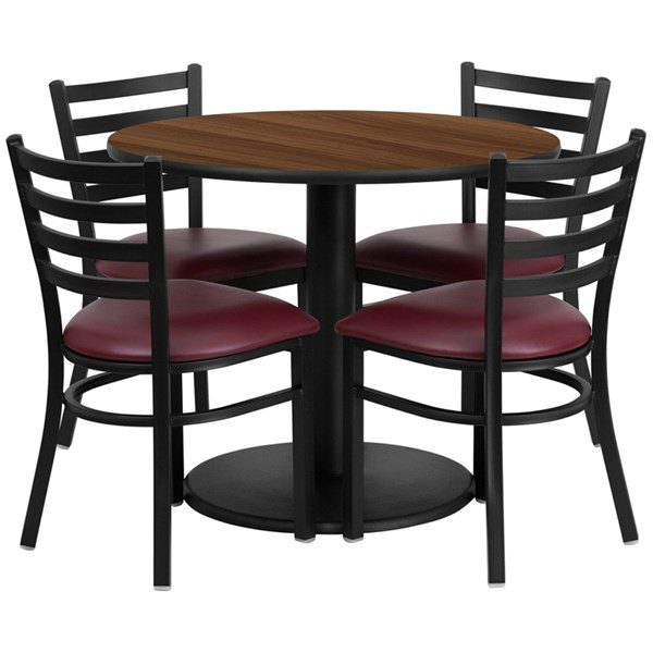 5pc Dining Room Set w/36 Inch Walnut Laminate Table & Burgundy Seat FLF-RSRB1008-TR24-DR-S8