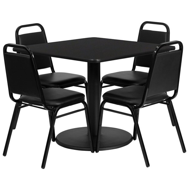 Fabric MDF Metal Wood Round Base Dining Room Set FLF-RSRB10-GG-DR2