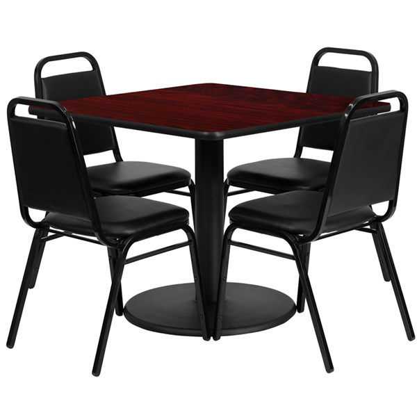 5pc Dining Room Set w/36 Inch Mahogany Laminate Table & Black Chair FLF-RSRB1010-T24-DR-S10