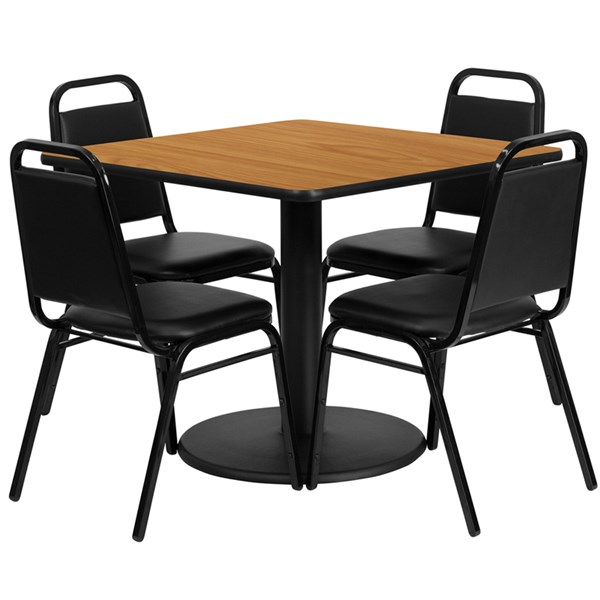 5pc Dining Room Set w/36 Inch Natural Laminate Table & Black Chairs FLF-RSRB1011-T24-DR-S11