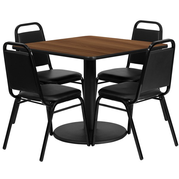 5pc Dining Room Set w/36 Inch Walnut Laminate Table & Black Chairs FLF-RSRB1012-T24-DR-S12