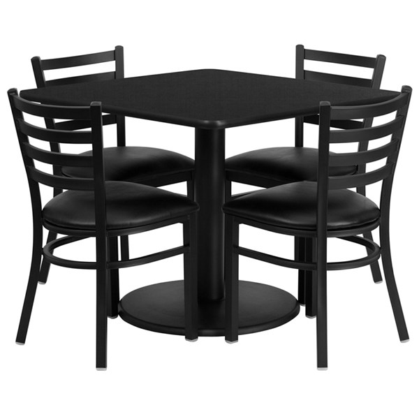 Laminate Table & Banquet Chairs Square Dining Room Set FLF-RSRB10-GG-DR3