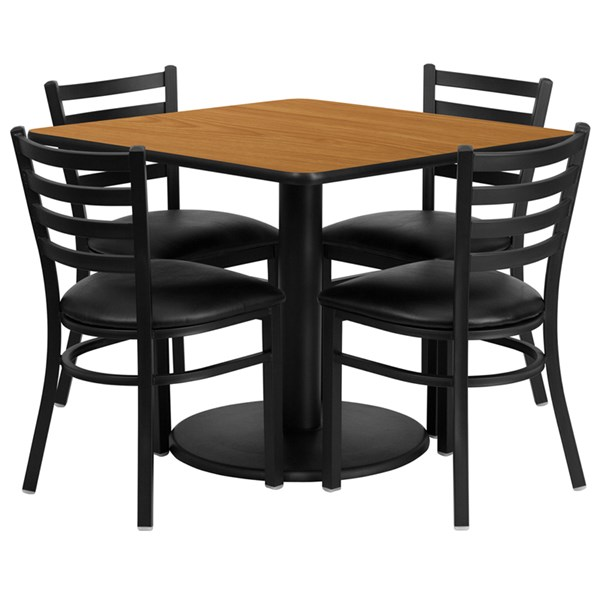 5pc Square Dining Room Set w/36 Inch Laminate Table & Vinyl Seat FLF-RSRB1015-TR-24-DR-S15