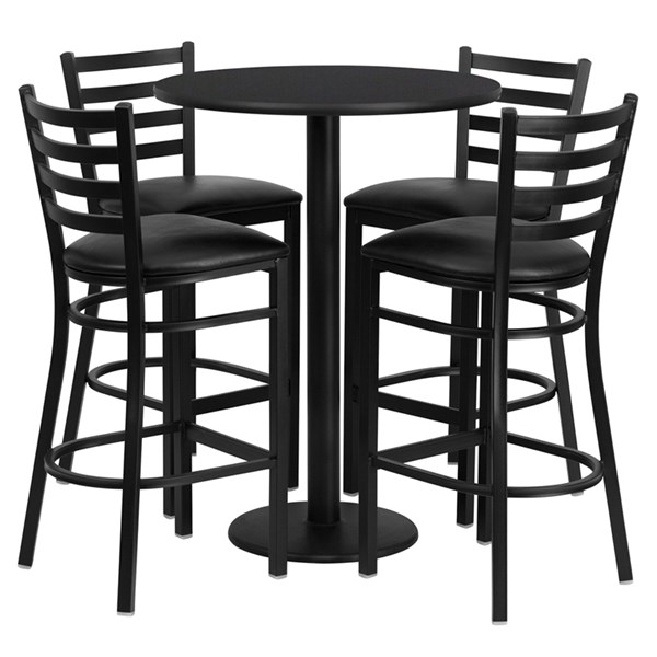 Black Laminate MDF Steel Vinyl Wood 5pc Counter Height / Bar Set FLF-RSRB1021-TR18B-BAR-S21