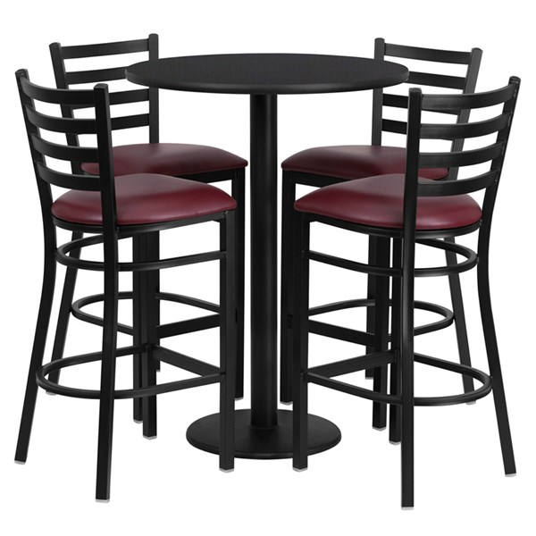 Black Burgundy Laminate MDF Vinyl Wood 5pc Counter Height / Bar Set FLF-RSRB1025-TR18B-BAR-S25