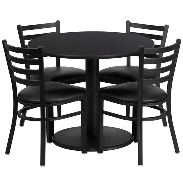 5pc Round Dining Room Set w/36 Inch Laminate Table & Vinyl Seat FLF-RSRB1029-GG-DR-S