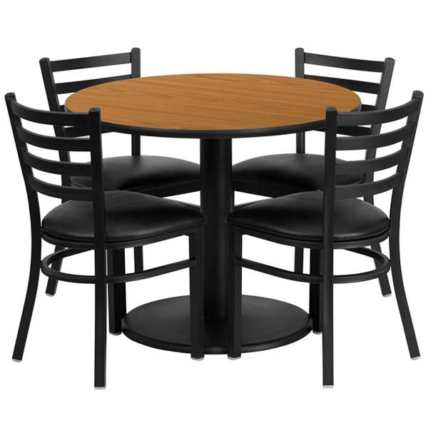 5pc Dining Room Set w/36 Inch Natural Laminate Table & Vinyl Seat FLF-RSRB1031-TR24-DR-S31