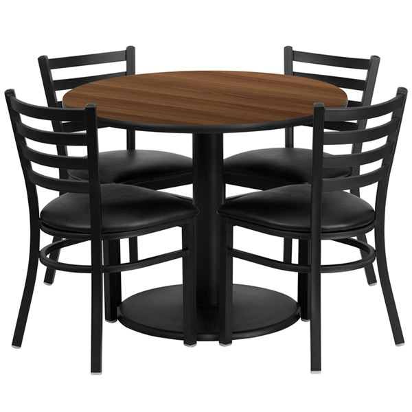 5pc Round Dining Room Set w/36 Inch Walnut Laminate Table & Vinyl Seat FLF-RSRB1032-TR24-DR-S32
