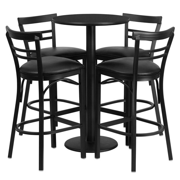 5pc Bar Set w/24 Inch Black Laminate Table & Black Vinyl Bar Stools FLF-RSRB1033-TR18B-BAR-S33