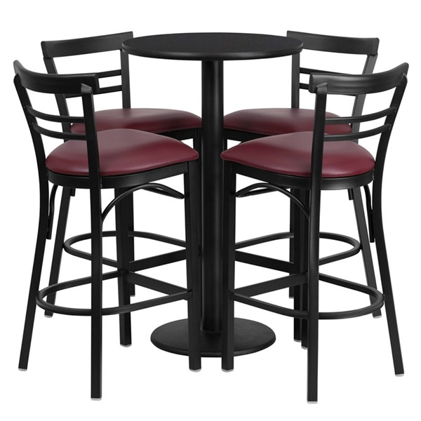 5pc Round Bar Set W/24 Inch Black Table & Burgundy Vinyl Stools FLF-RSRB1037-TR18B-BAR-S37