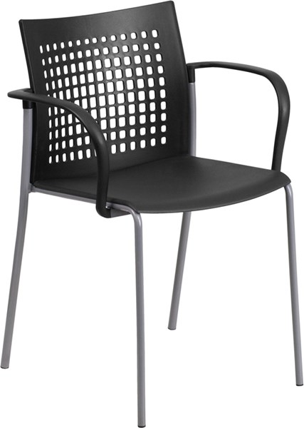 Hercules Series Black Stack Chair w/Air-Vent Back & Arms FLF-RUT-1-BK-GG