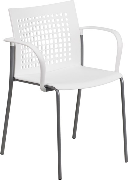 Hercules Series White Stack Chair w/Air-Vent Back & Arms FLF-RUT-1-WH-GG