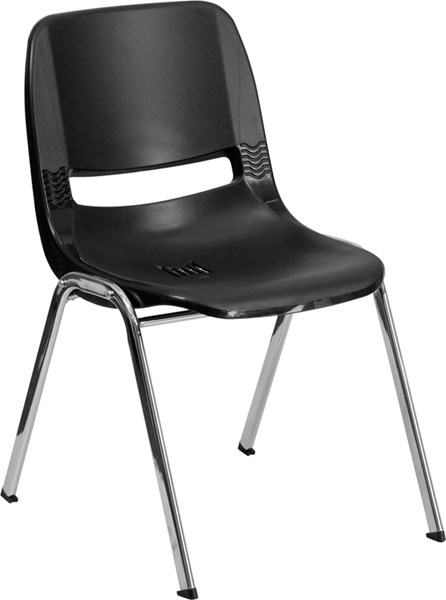 Flash Furniture Hercules Black Ergonomic Stack Chair with Chrome Frame FLF-RUT-14-BK-CHR-GG