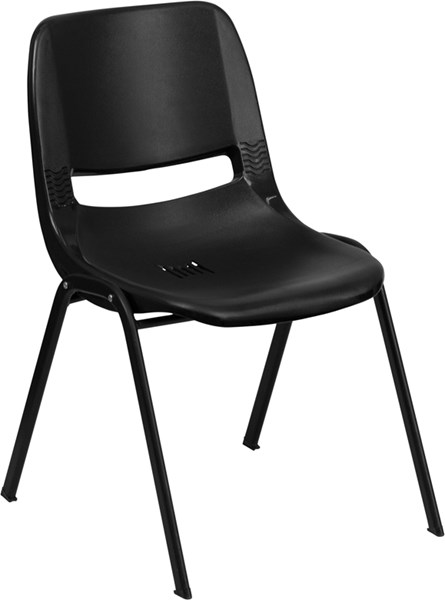 Flash Furniture Hercules Black Ergonomic Shell Stack Chair with Frame FLF-RUT-16-PDR-BLACK-GG