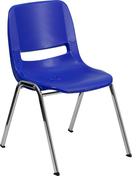 Flash Furniture Hercules Navy Ergonomic Stack Chair with 18 Inch Seat Height FLF-RUT-18-NVY-CHR-GG