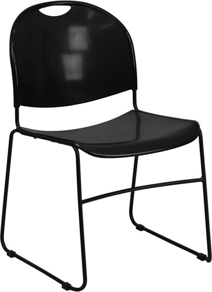 Flash Furniture Hercules Black High Density Ultra Compact Stack Chair FLF-RUT-188-BK-GG