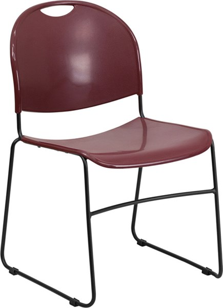 Flash Furniture Hercules Burgundy High Density Ultra Compact Stack Chair FLF-RUT-188-BY-GG