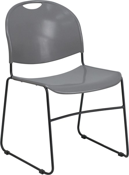 Flash Furniture Hercules Gray High Density Ultra Compact Stack Chair FLF-RUT-188-GY-GG