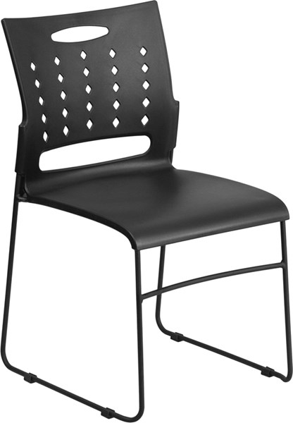 Flash Furniture Hercules Black Sled Base Stack Chair with Air Vent Back FLF-RUT-2-BK-GG