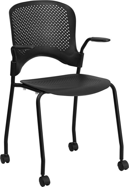 Black Perforated Stacking Side Chair w/Arms & Casters FLF-RUT-208-2K-BK-CAS-GG