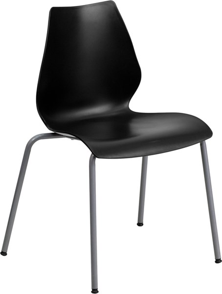 Flash Furniture Hercules Black Stack Chair with Silver Frame FLF-RUT-288-BK-GG