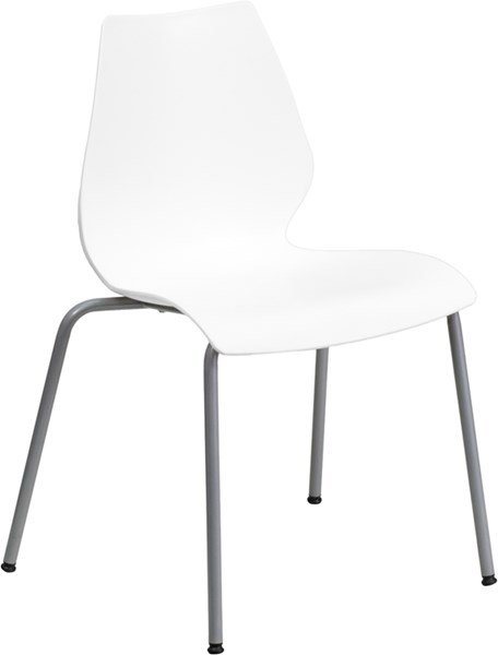 Flash Furniture Hercules White Stack Chair with Silver Frame FLF-RUT-288-WHITE-GG