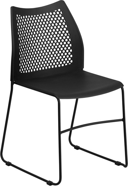 Flash Furniture Hercules Black Sled Base Stack Chair FLF-RUT-498A-BLACK-GG