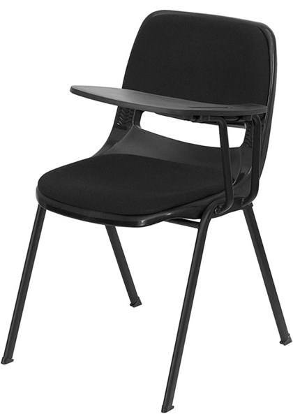 Flash Furniture Padded Black Ergonomic Shell Chair with Left Handed Flip-Up Tablet Arm FLF-RUT-EO1-01-PAD-LTAB-GG