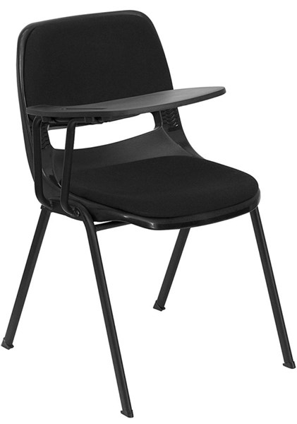 Flash Furniture Padded Black Ergonomic Shell Chair with Right Handed Flip-Up Tablet Arm FLF-RUT-EO1-01-PAD-RTAB-GG
