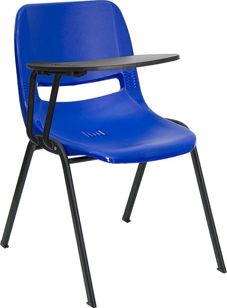 Flash Furniture Blue Ergonomic Shell Chair with Right Handed Flip-Up Tablet Arm FLF-RUT-EO1-BL-RTAB-GG