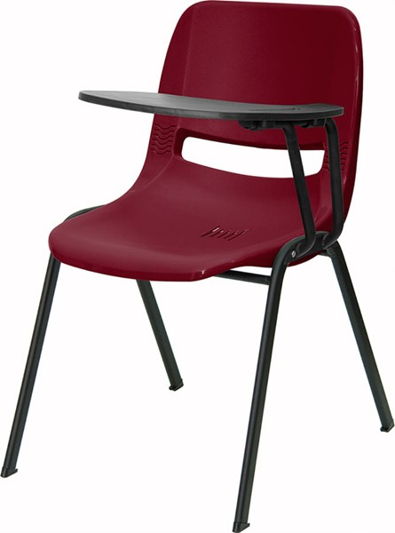 Flash Furniture Burgundy Ergonomic Shell Chair with Left Handed Flip-Up Tablet Arm FLF-RUT-EO1-BY-LTAB-GG