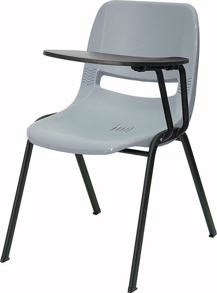 Gray Ergonomic Shell Chair w/Left Handed Flip-Up Tablet Arm FLF-RUT-EO1-GY-LTAB-GG
