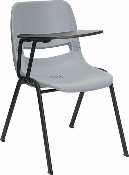 Flash Furniture Gray Ergonomic Shell Chair with Right Handed Flip-Up Tablet Arm FLF-RUT-EO1-GY-RTAB-GG