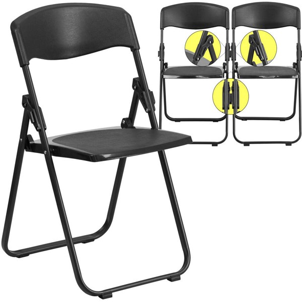 Flash Furniture Hercules Heavy Duty Black Folding Chair with Built In Ganging Brackets FLF-RUT-I-BLACK-GG
