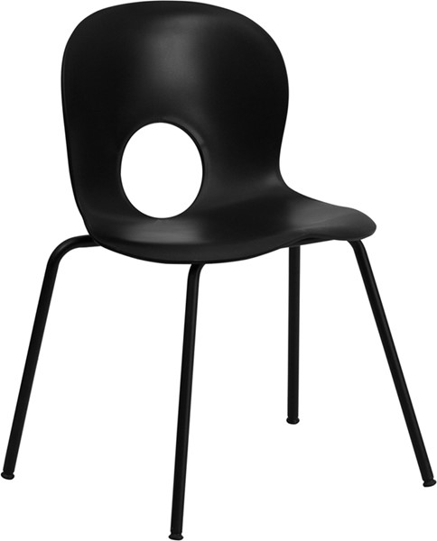 Flash Furniture Hercules Black Plastic Stack Chair FLF-RUT-NC258-BK-GG