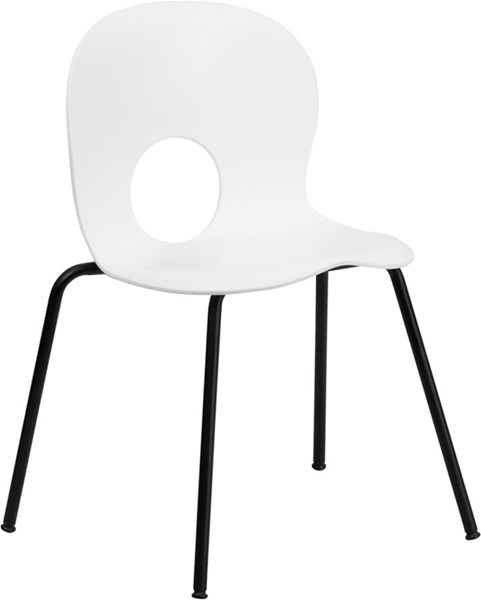 Designer White Plastic Stack Chair w/Black Powder Coated Frame Finish FLF-RUT-NC258-WHITE-GG