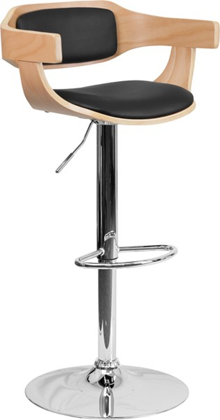 Black Chrome Metal Wood Vinyl Adjustable Height Barstool W/Arms FLF-SD-2179-GG