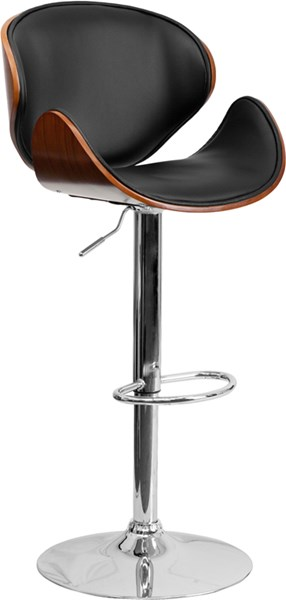 Walnut Bentwood Adjustable Height Barstool w/Curved Vinyl Seat & Back FLF-SD-2203-WAL-GG
