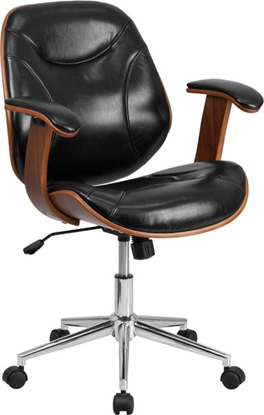 Mid-Back Black Leather Executive Wood Swivel Office Chair FLF-SD-SDM-2235-5-BK-GG