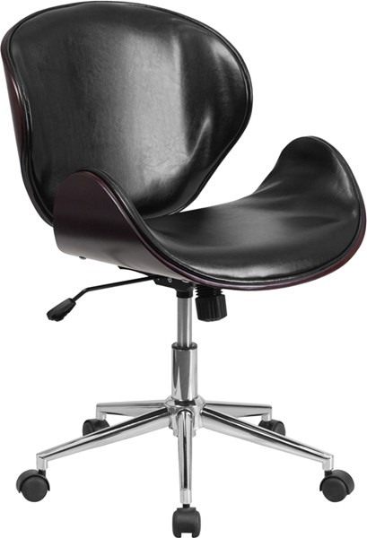 Flash Furniture Black Leather Mid Back Mahogany Wood Swivel Conference Chair FLF-SD-SDM-2240-5-MAH-BK-GG