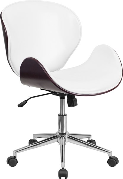 Flash Furniture White Leather Mid Back Mahogany Wood Swivel Conference Chair FLF-SD-SDM-2240-5-MAH-WH-GG