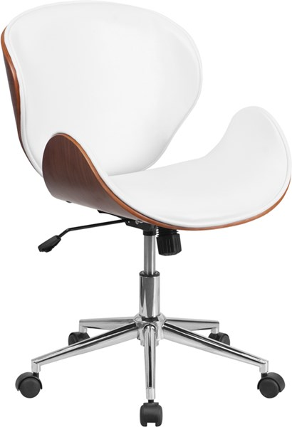 Flash Furniture White Leather Mid Back Walnut Wood Swivel Conference Chair FLF-SD-SDM-2240-5-WH-GG