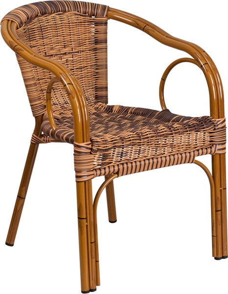 Flash Furniture Cadiz Burning Brown Dark Red Rattan Bamboo Aluminum Chair FLF-SDA-AD632009D-1-GG