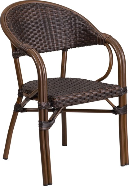 Flash Furniture Milano Dark Brown Rattan Bamboo Aluminum Chair FLF-SDA-AD642003R-2-GG