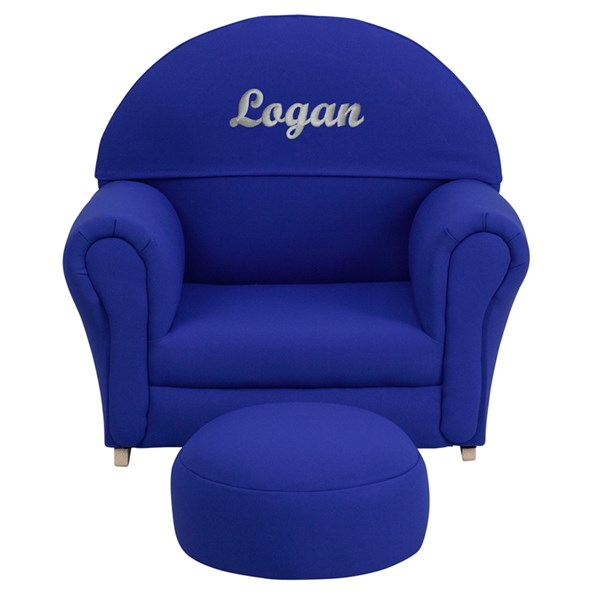 Personalized Kids Blue Fabric Rocker Chair and Footrest FLF-SF-03-OTTO-BLUE-TXTEMB-GG